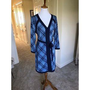 BCBG MaxAzria Blue Plaid Tie Dress